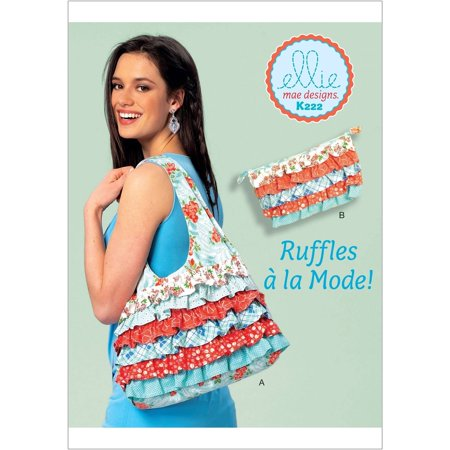 Shoulder Bag and Cosmetic Pouch With Contrast Ruffles, One Size Only