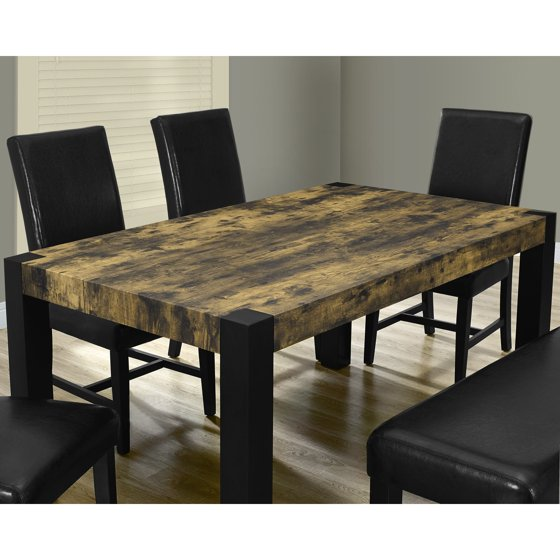 monarch specialties distressed reclaimed look black dining table. Black Bedroom Furniture Sets. Home Design Ideas