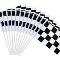 "Novelty Place 8""x5.5"" Checkered Black and White Racing Stick Flag - Plastic Stick - Decorations for Racing, Race Car Party, Sport Events (12 Pack)"