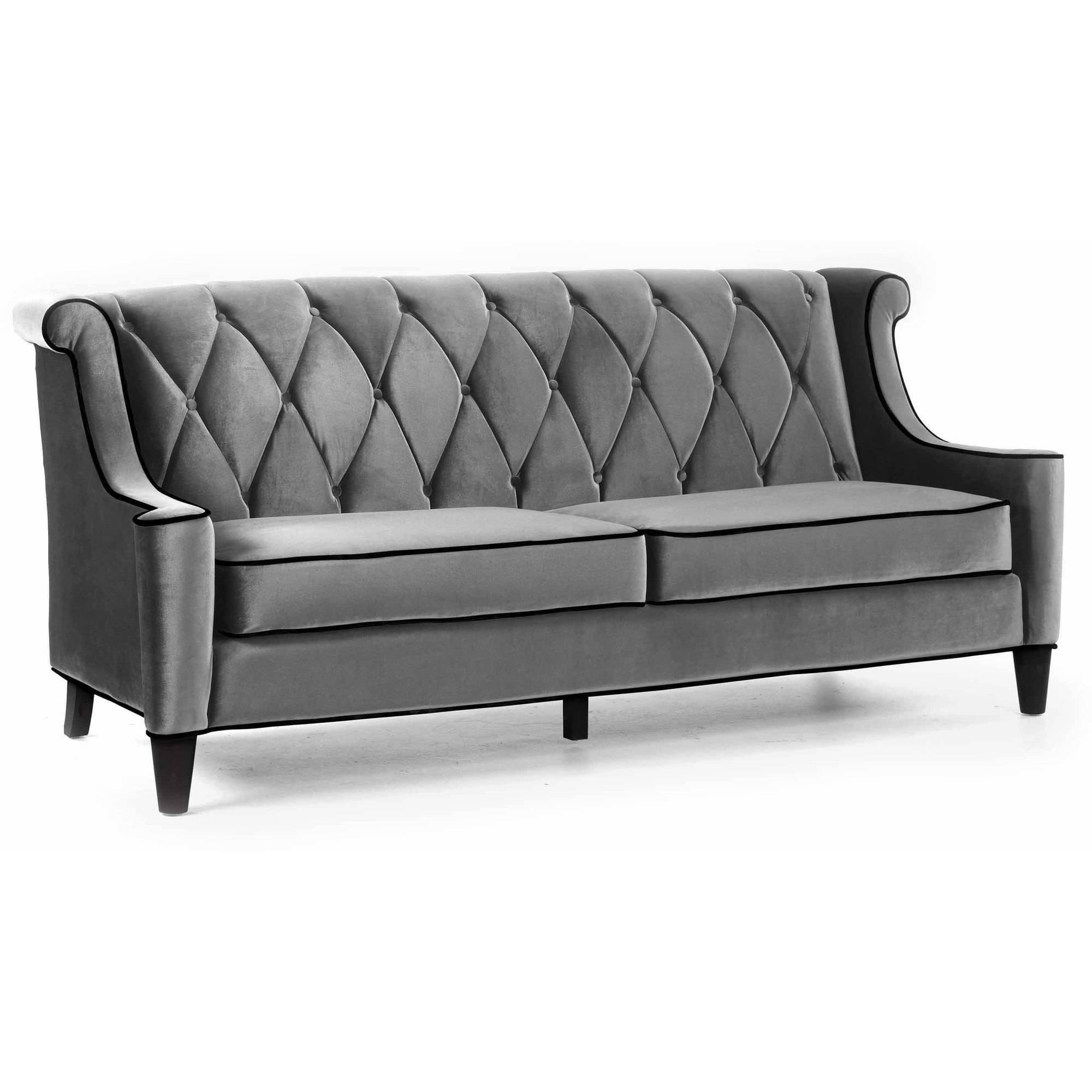 Armen Living Barrister Sofa, Gray Velvet with Black Piping