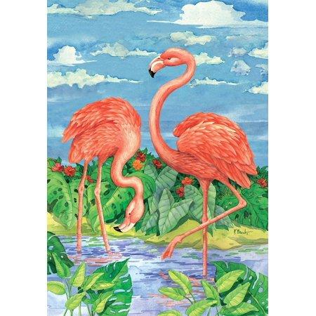 Bamboo Flamingos Summer House Flag Tropical Birds 28  X 40  Briarwood Lane