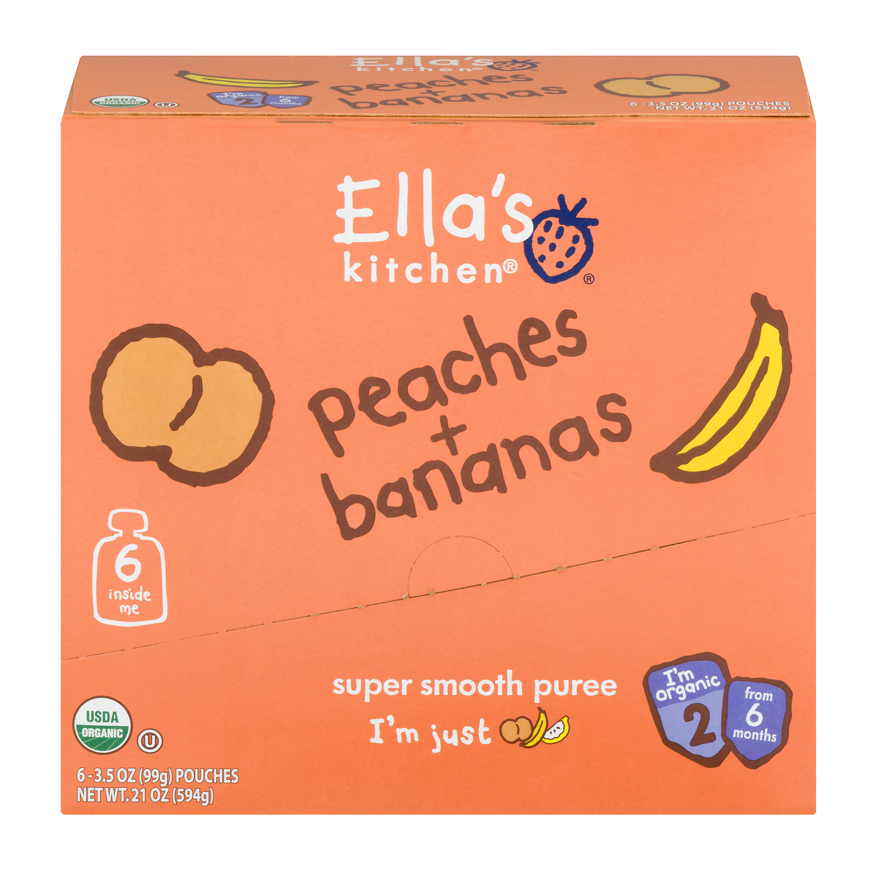 Ella's Kitchen Organic Baby Food Peaches + Bananas Super Smooth Puree Organic, 6 Pack