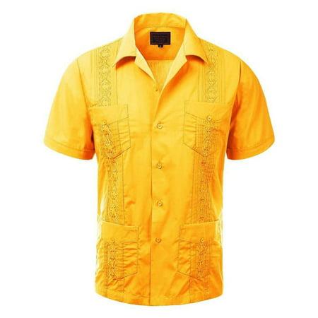 Men's Guayabera Embroidered Cuban Beach Wedding Short Sleeve Button up Casual Dress Shirt Yellow - Embroidered Button Shirt