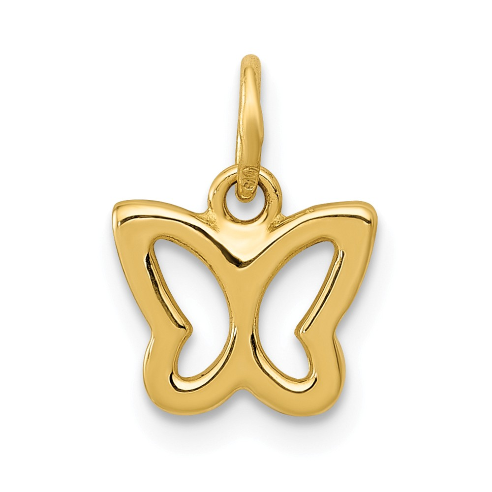 14k Yellow Gold Polished Butterfly Pendant
