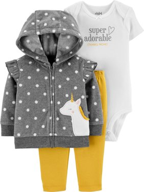 Child of Mine by Carter's Baby Girl Hooded Cardigan, Short Sleeve Bodysuit & Pants, 3pc Outfit Set