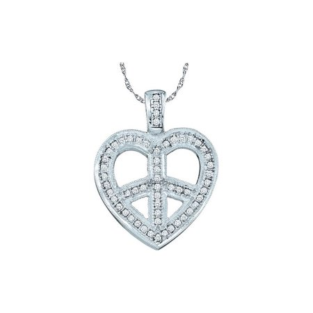 10kt White Gold Womens Round Diamond Heart Peace Sign Pendant 1/6 Cttw - image 1 of 1