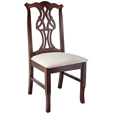 Beechwood Mountain Fully Assembled Chippendale Side Dining Chair in Walnut Finish by
