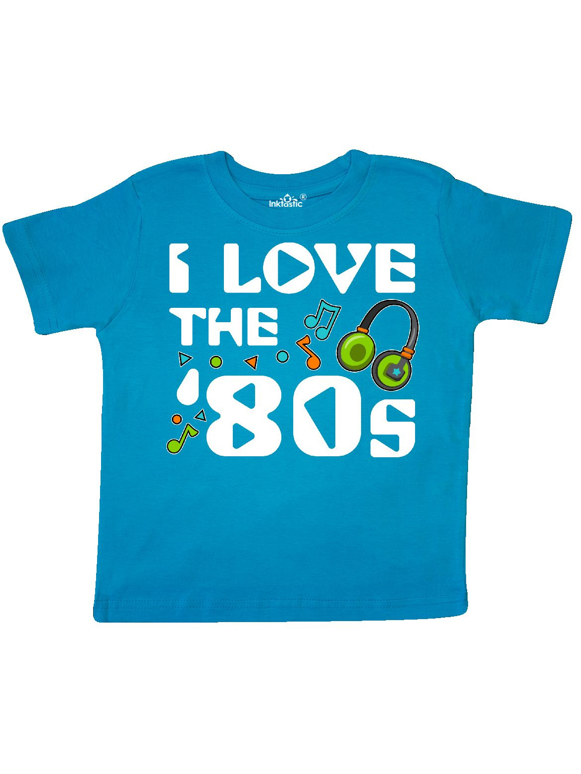 Inktastic I Love The /'80s-musical Notes Toddler T-Shirt 80s Eighties Headphones