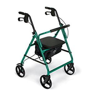 """Medline Steel Foldable Rollator Walker with 8"""" Wheels, Green"""