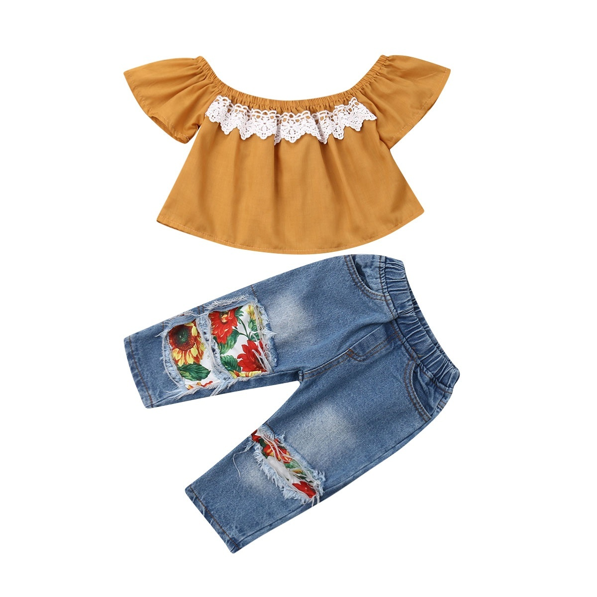 Toddler Baby Girls Lace Tops T-shirt+Trousers Pants Kids Casual Clothes Outfits
