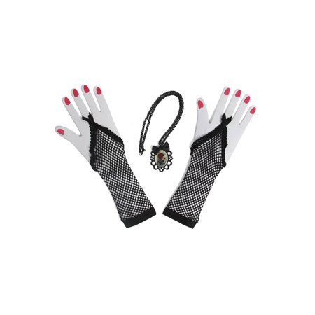 Gravity Memento Mori Costume Kit, Fishnet Gloves And Skull Pendant](Gravity Falls Costumes)