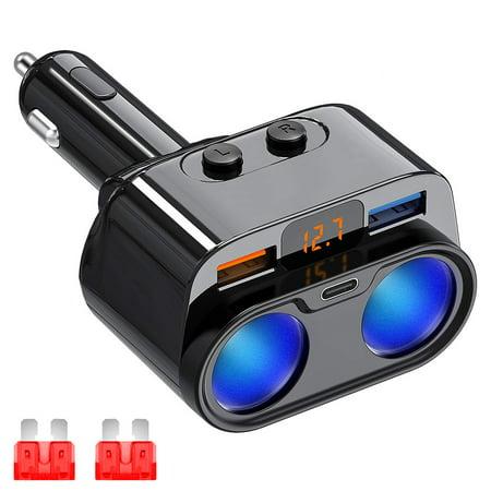 USB C Car Charger, 2 Sockets Cigarette Lighter Splitter for iPhone 11/11 Pro/X/8/7, Samsung, Google Pixel and More, UL Listed - image 3 de 9