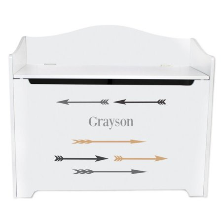 Personalized Arrows Gold and Grey White Toy Box Bench ()