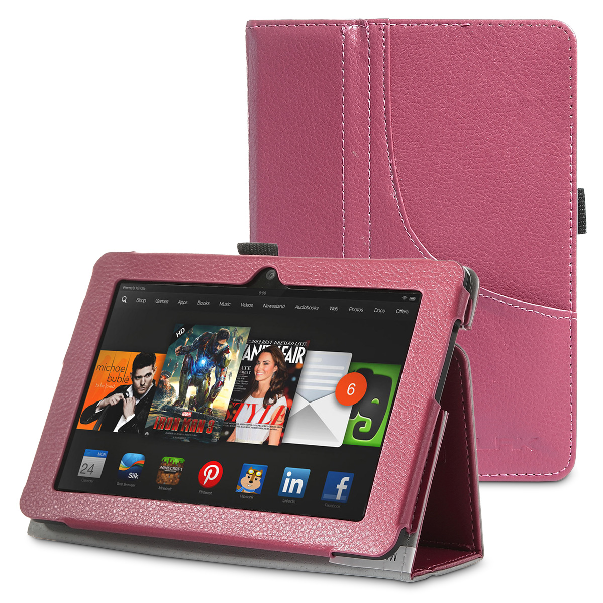 ULAK PU Leather Folio Stand Case Cover for Amazon Kindle Fire HDX 7 Inch 2013 Release with Auto Sleep/Wake Feature, Rose Red