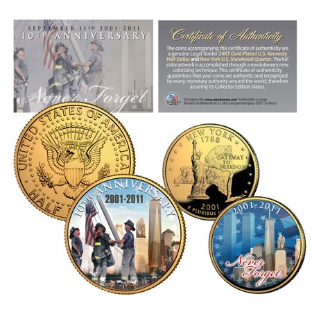 WORLD TRADE CENTER 10th Anniversary 9/11 NY Quarter & JFK Half Dollar 2-Coin Set