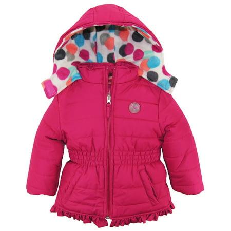 Pink Platinum Baby Girls Polka Dot Polar Fleece Lined Winter Puffer Jacket Coat