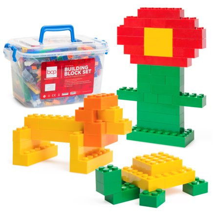 Best Choice Products Deluxe 1000-Piece Building Brick Blocks Set w/ Carrying Case, 14 Shapes, 10 Colors - image 4 de 5