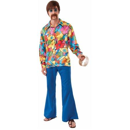 Adult Mens 60s 70s Groovy Flower Power Hippie Go Go Shirt Costume