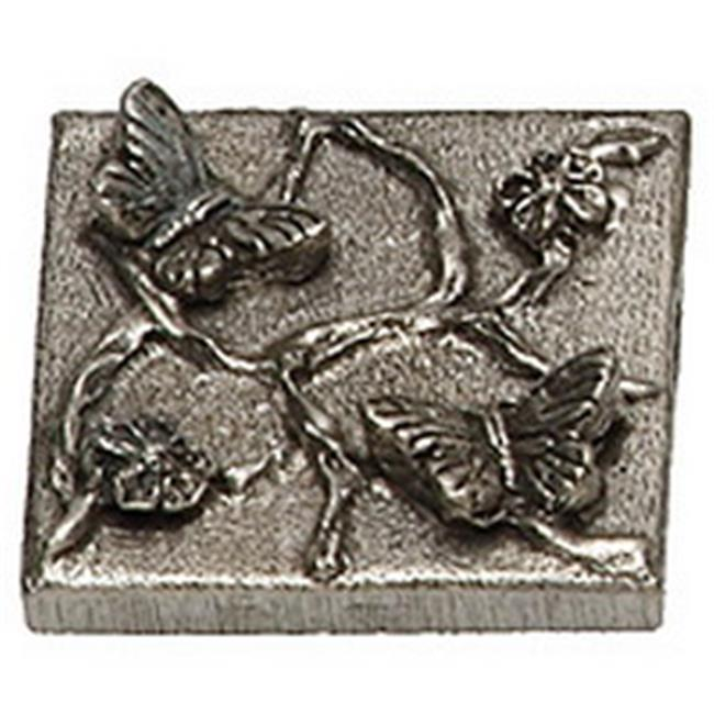 Premier Hardware Designs PHDT-2-NP Shiny Pewter Butterfly Tile, 2 x 2 Inch