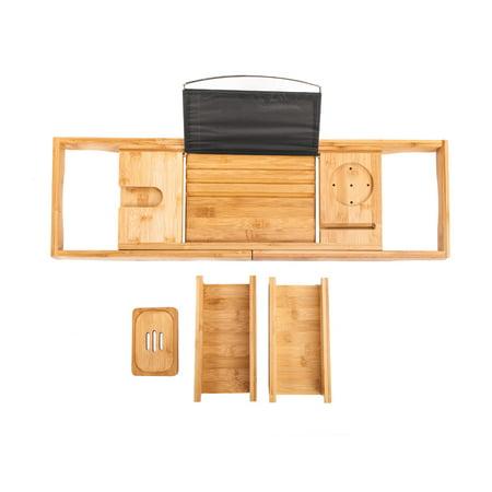 Zimtown Bathtub Rack Bamboo Shelf Shower Tub Book Reading Tray Holder Stand Expandable (Umbra Bathtub Ring Holder)