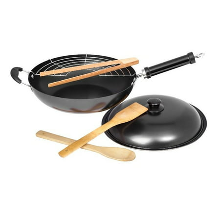 """Non Stick 12"""" Fire Wok Set With Stainless Steel Grill Utensils and Lid"""