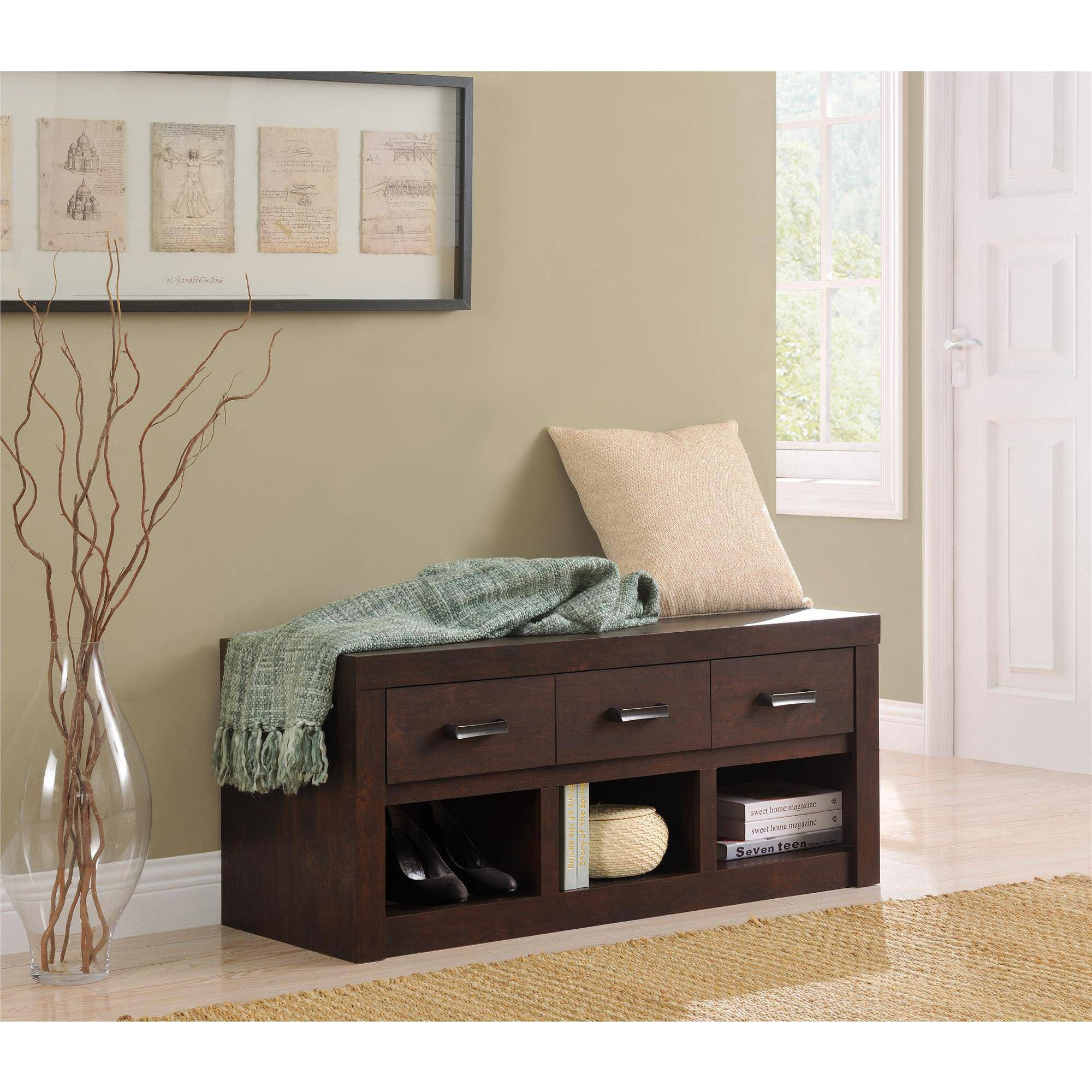 Altra Westbrook Storage Bench, Dark Walnut