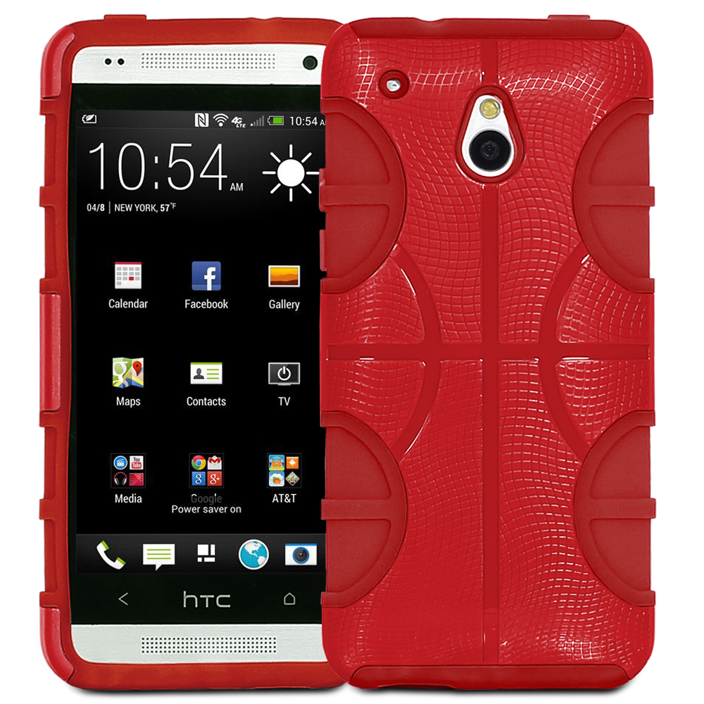 Fosmon HYBO-BBALL Series Detachable Hybrid Silicone + PC Case for HTC One Mini / HTC M4 - Red (Silicone) / Red (PC)