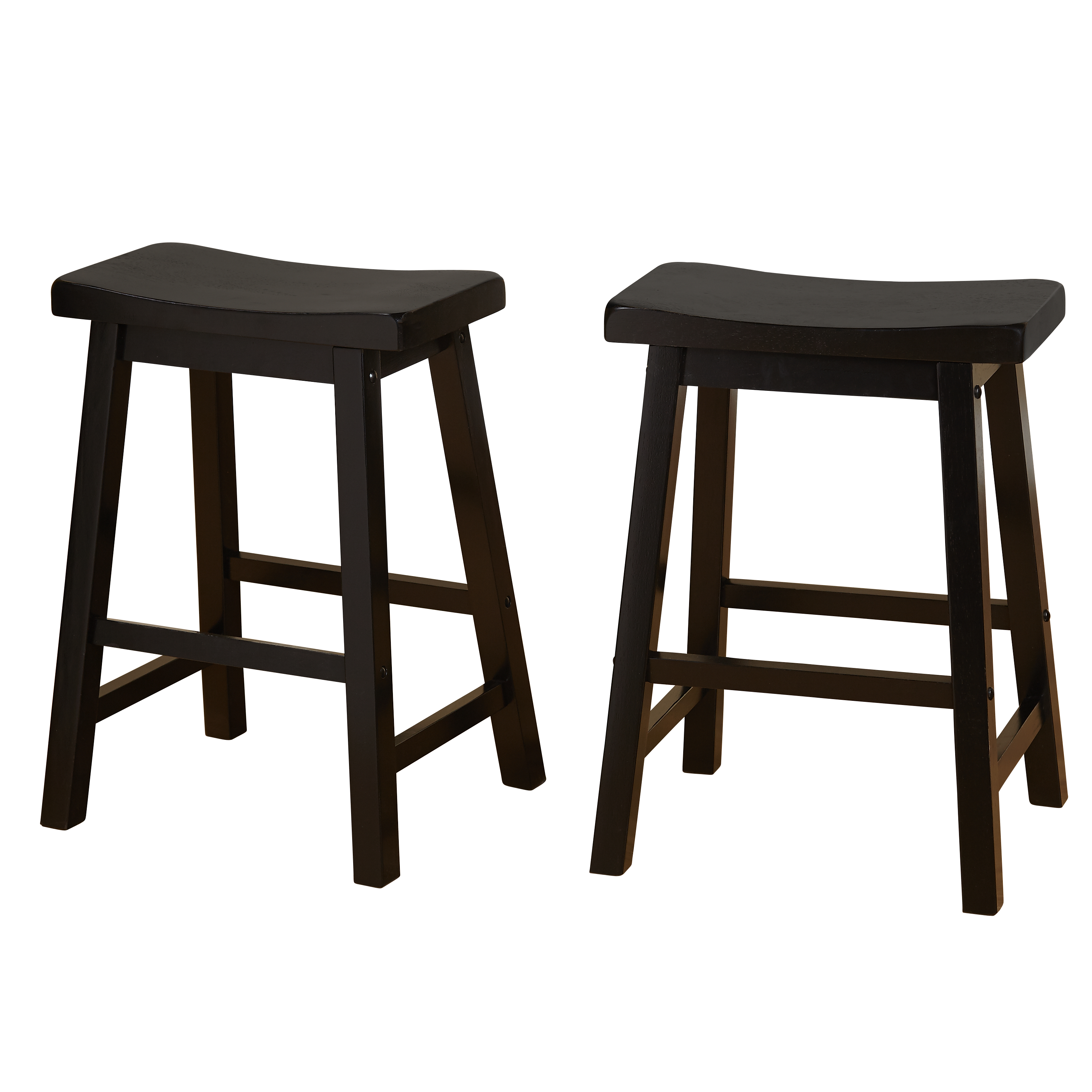"Belfast Saddle 24"" Stools, Set of 2, Multiple Colors"