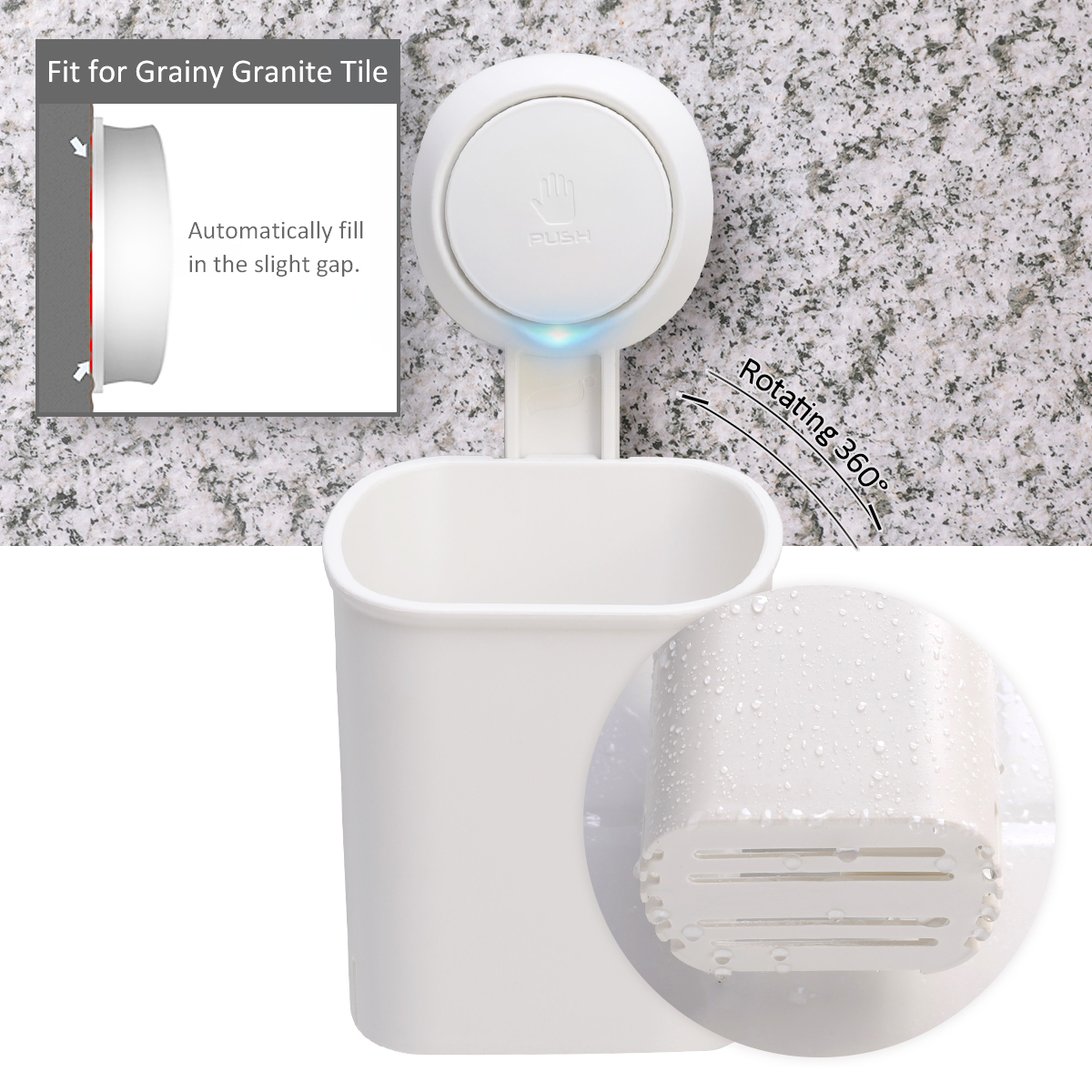 Taili Suction Cup Toothbrush Holder Drill-Free Wall Mounted Electric Toothbrush,