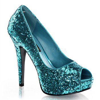 Womens Platform Glitter Peep Toe Pump Shoes