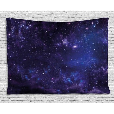 Celestial Tapestry (Galaxy Tapestry, Celestial Stars in Night Sky Stardust in Clouds Magical Fantasy World of Space, Wall Hanging for Bedroom Living Room Dorm Decor, 60W X 40L Inches, Black Navy Blue,)