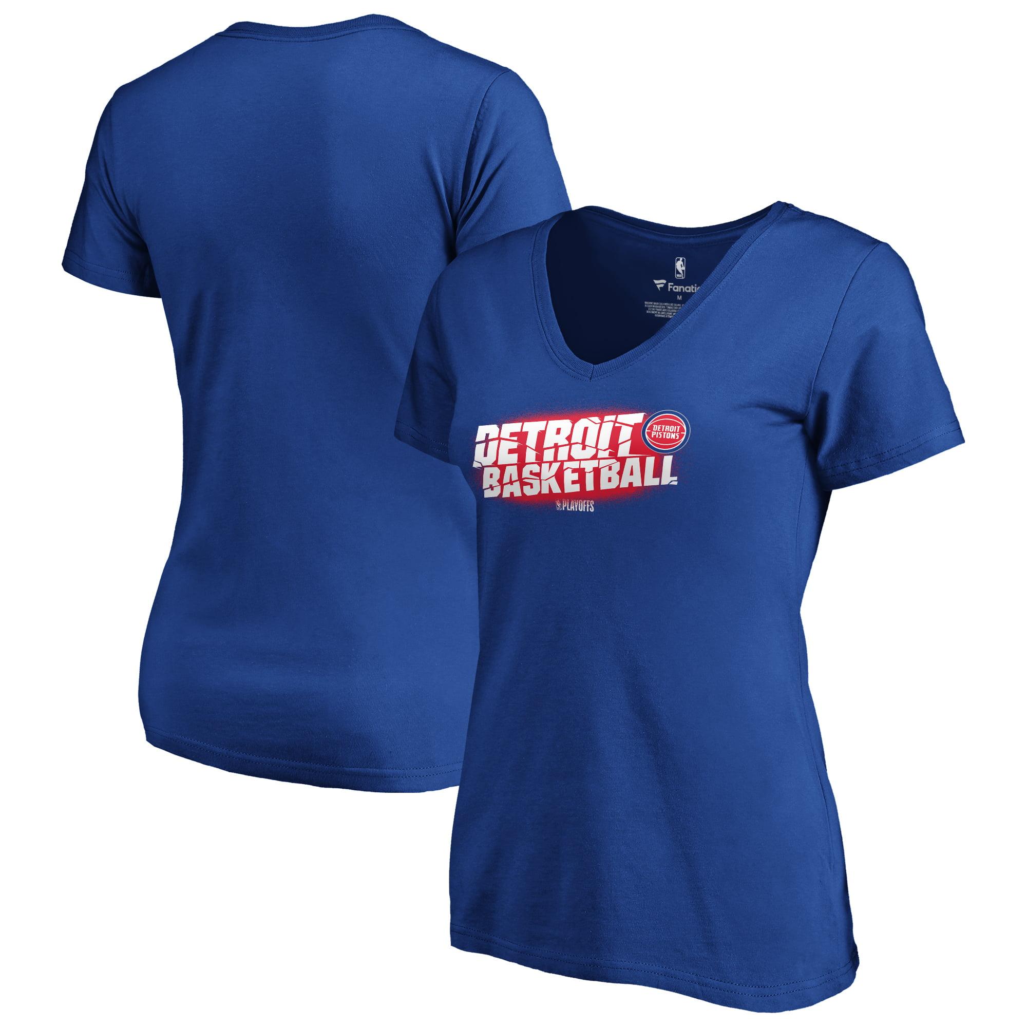 Detroit Pistons Fanatics Branded Women's 2019 NBA Playoffs Bound Tip Off Dunk Plus Size V-Neck T-Shirt - Royal