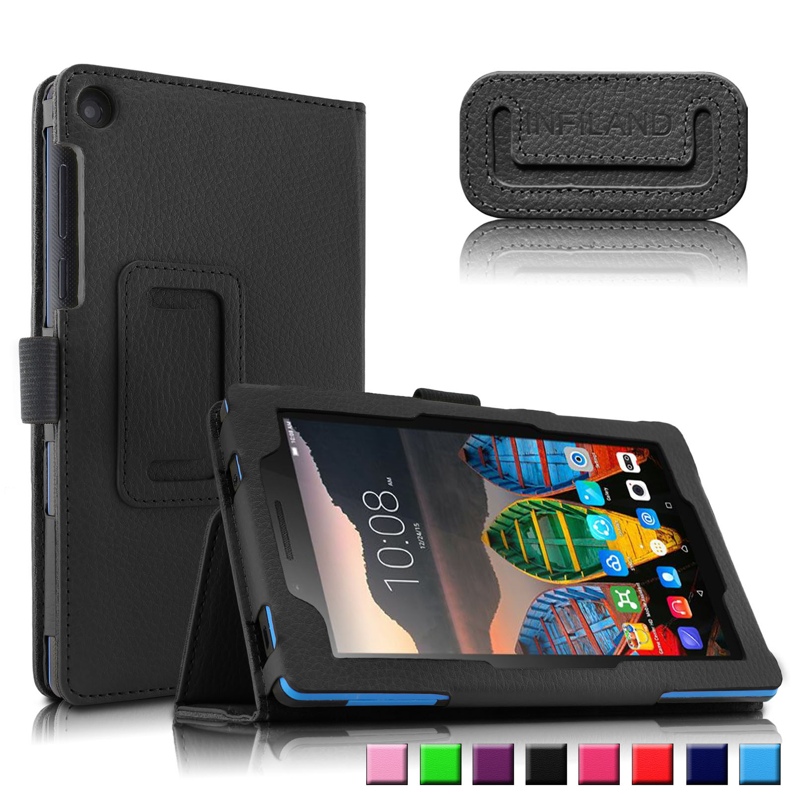 Infiland Folio PU Leather Case Cover For Lenovo Tab 3 Essential 7-Inch Tablet, Black
