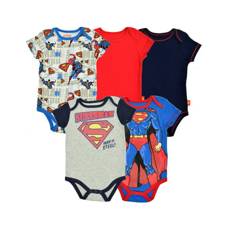 Baby Boys' Superman bodysuits 5 Pack Bodysuit (6-9 - Superman Onesie Women