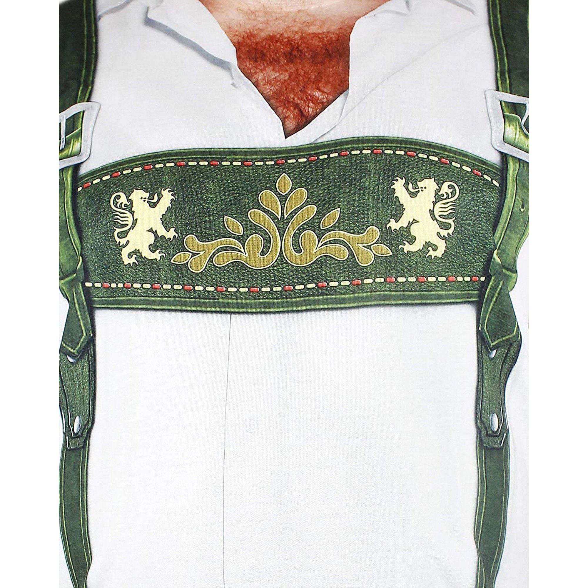 Adult Size Faux Real Oktoberfest T-Shirt for Men Lederhosen Hairy Chest Design