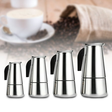 HURRISE 100ml/200ml/300ml/450ml Stainless Steel Moka Pot Espresso Coffee Maker Stove Home Office
