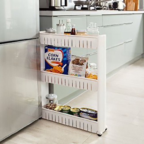 Slim Storage Food Cleaning Supplies Pantry Cabinet Organizer Slide Out Cart Rack With Wheels For Narrow Spaces In Kitchen Garage Laundry Apartments Bathroom Closets 3 Tier Walmart Com Walmart Com