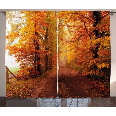 Fall Decor Curtains 2 Panels Set, Footpath in Foggy Woods Peaceful September Serene Idyllic Country, Window Drapes for Living Room Bedroom, 108W X 90L Inches, Orange Redwood Yellow, by Ambesonne