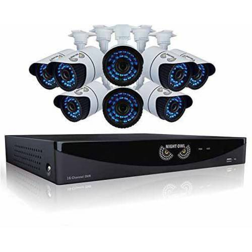 Night Owl 16 Channel Video Security System w/ 8 Hi-Res 900 TVL Bullet Cameras