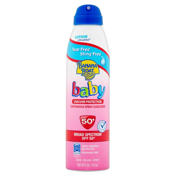 Banana Boat Baby Lotion UltraMist Spray Sunscreen SPF 50+, 6.0 OZ