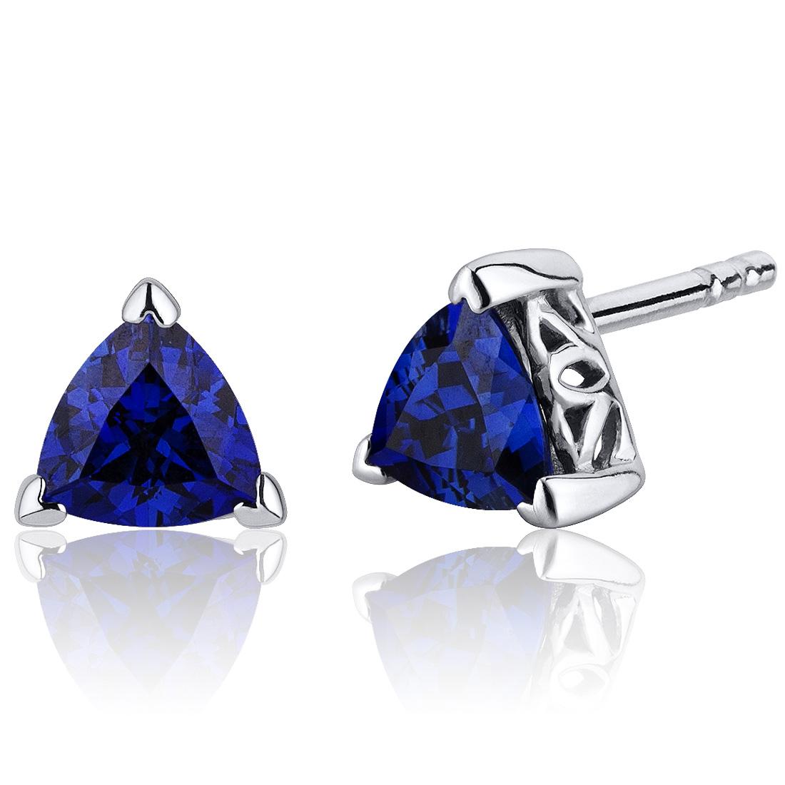 2.00 Ct Trillion Cut Blue Sapphire Sterling Silver Stud Earrings Rhodium Finish
