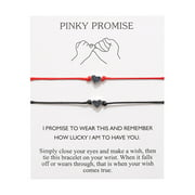 Pinky Promise Heart Adjustable Friendship Bracelets Bangles Matching Couples Bracelets Jewelry Gifts Pinky Swear Bracelets With Card