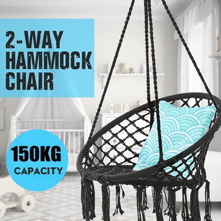 Hanging Hammock Mesh Woven Rope Macrame Wooden Bar Chair Swing Outdoor Home Garden Patio Chair Seat + Install Tool Home Decor Gift ()