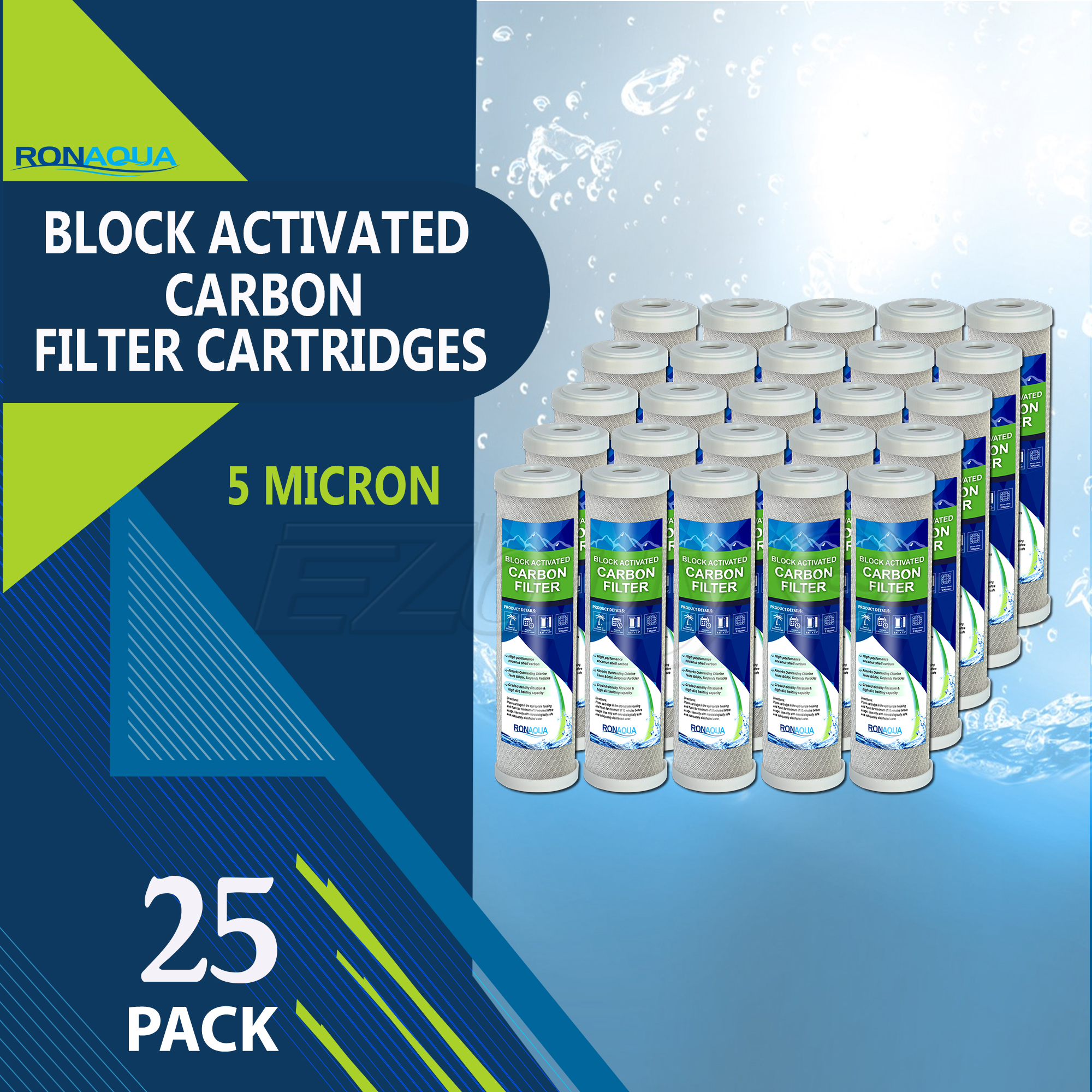 "Block Activated Carbon Coconut Shell Water Filter Cartridge 5 Micron for RO & Standard 10"" Housing by Ronaqua (25 Pack)"
