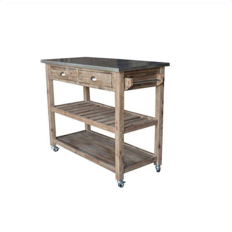 Pemberly Row Wire Brush Finish Kitchen Cart by Pemberly Row