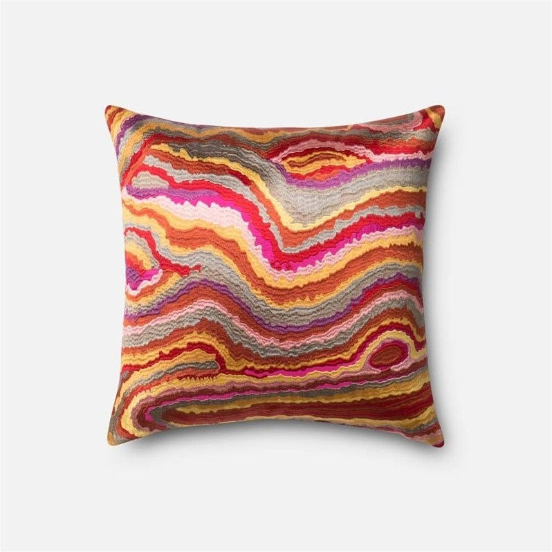 "Loloi 1'6"" x 1'6"" Poly Pillow in Pink"