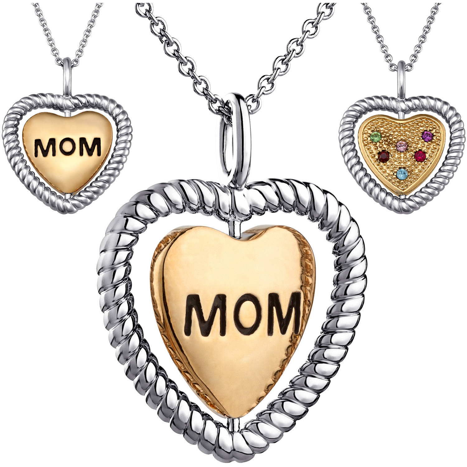 Personalized Two-Tone Mom Birthstone Heart Spinner Pendant