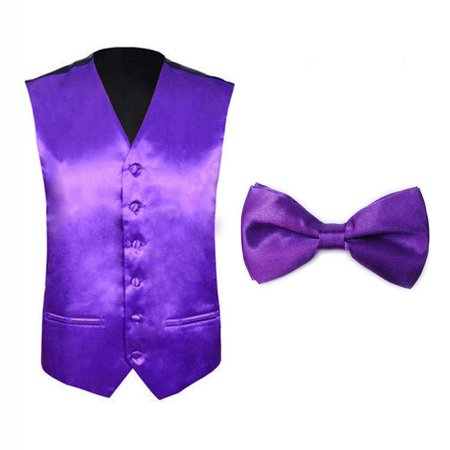 TopTie Tuxedo Wedding Dress Vest & Bow Tie Set For Men-Purple-S - Red Vest And Bow Tie