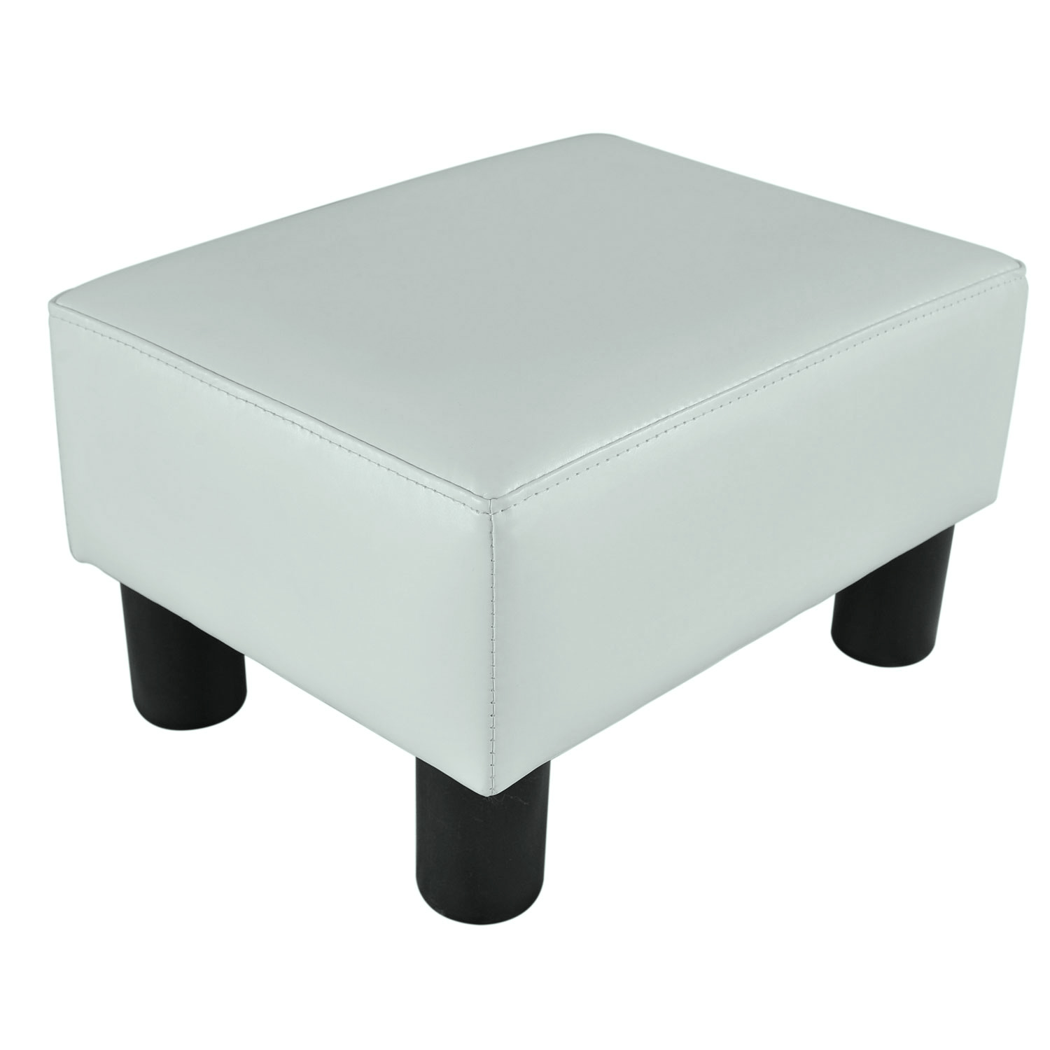 Hom Modern Small Faux Leather Ottoman Footrest Stool White
