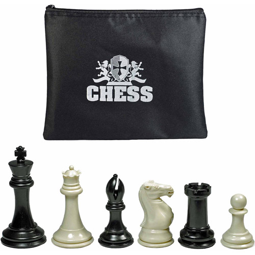 "Super Tournament Staunton Chessmen, Triple Weighted Black and Cream Plastic Set with 4"" King"